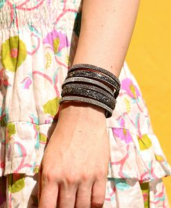 Sparkly wrap around bracelet silver in large